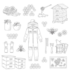Beekeeping equipment collection vector