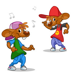 Cartoon set of hip-hop dancing mouses vector