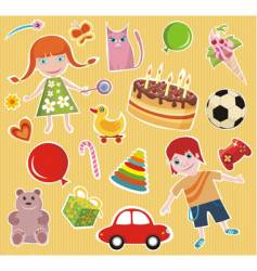 children design elements set vector image