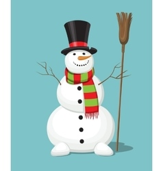 Christmas snowman isolated on blue background vector