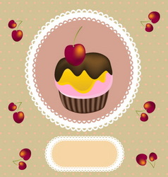 cup cake invitation vector image vector image