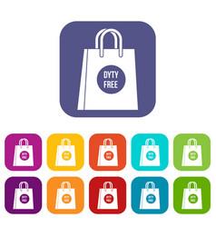 Duty free shopping bag icons set vector