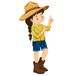 Farm girl in yellow shirt vector