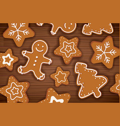 Gingerbread man on wooden table background merry vector