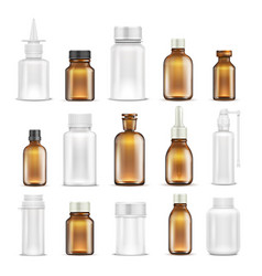 Medicine glass and plastic blank bottles isolated vector