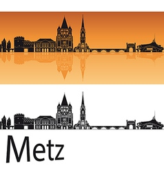 Metz skyline in orange background vector image vector image