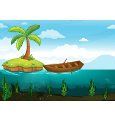 Palm tree and rowboat vector image vector image