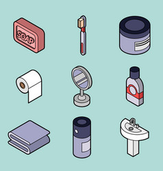 Personal hygiene flat outine isometric set vector