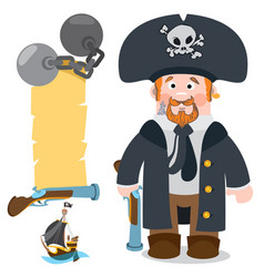 Pirate captain banner from an old parchment with vector