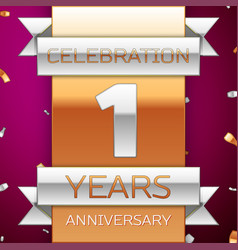 Realistic one years anniversary celebration design vector