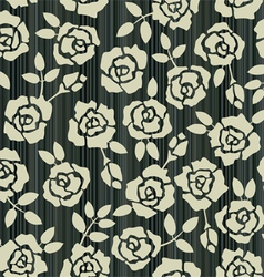 retro floral seamless background with roses vector image
