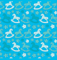 seamless pattern with toys - horses and stars vector image
