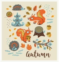 Set of cartoon characters and autumn elements vector