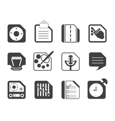 Silhouette mobile phones and internet icons vector