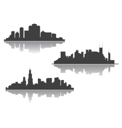 Silhouettes of downtown cityscape vector