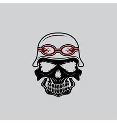 Skull in helmet biker theme design template vector