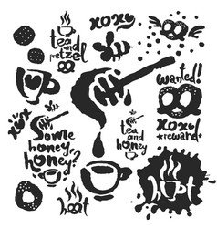 tea sketches and calligraphy set vector image vector image