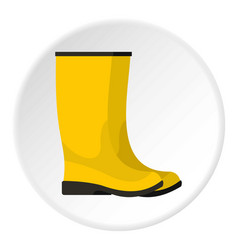 yellow boots icon circle vector image vector image