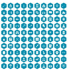 100 offence icons sapphirine violet vector image vector image