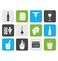 Flat wine icons vector