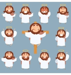 Set of jesus flat icons vector