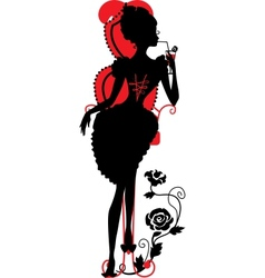 Silhouette of woman with a cocktail vector