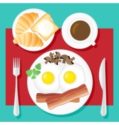 Breakfast Poster Fried eggs bacon mushrooms vector image