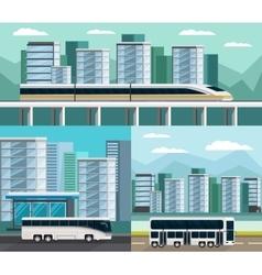 Public transportation orthogonal compositions set vector