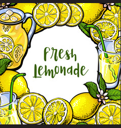 Square frame of lemons lemonade with round place vector