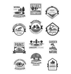 Nature landscape company icons set vector
