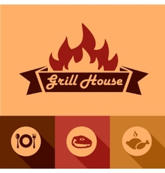 Grill house design elements vector