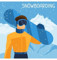Man snowboarder on mountain winter landscape vector