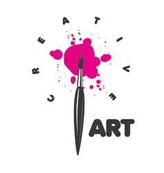 Logo brush and blots of paint vector