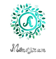 Watercolor monogram vector