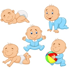 Collection of cartoon baby boy vector