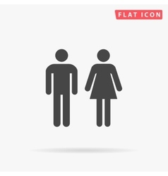 Man and woman simple flat icon vector