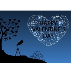 Happy valentines day romantic starry sky vector