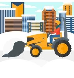 Woman plowing snow vector