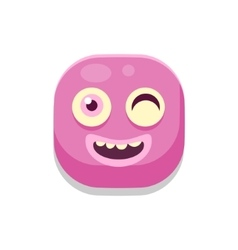 Winking monster square icon vector