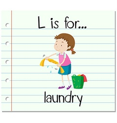 Flashcard letter l is for laundry vector