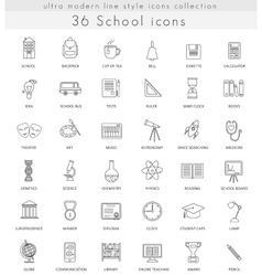 School ultra modern outline line icons for vector