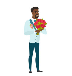 African groom holding a bouquet of flowers vector