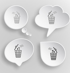 Bin white flat buttons on gray background vector