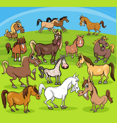 Cartoon horses farm animals group vector