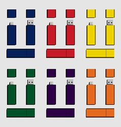 Colorful micro usb and usb flash drive vector