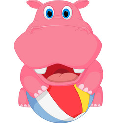 Cute hippo cartoon playing ball vector