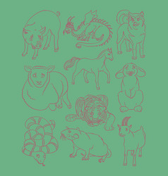 Dog dragon goat horse pig rabbit rat sheep vector