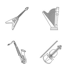 Electric guitar loudspeakerharp saxophone vector