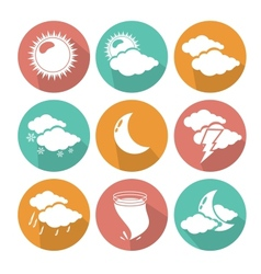 Flat design weather icons vector image vector image