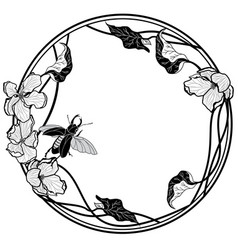frame with stag-beetle and apple flowers vector image vector image